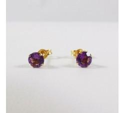 Boucles D'oreilles Puces Améthyste Or Jaune 750 (18 carats)