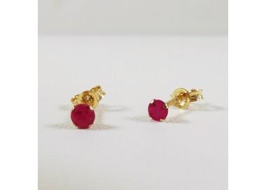 Boucles d'oreilles Puces Rubis Or jaune 750 (18 carats)