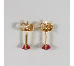 Boucles d'Oreilles Puces Rubis Or Jaune