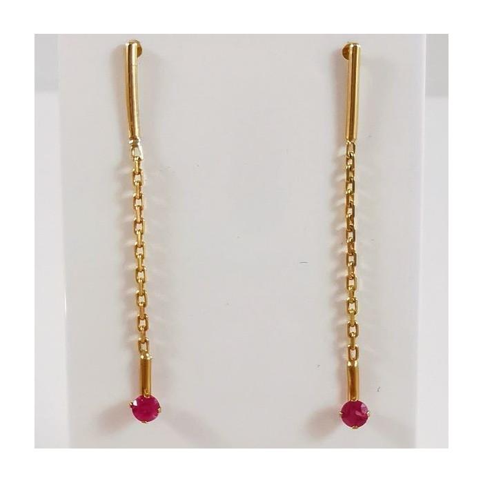 Boucles d'Oreilles Pendantes Rubis Or Jaune