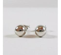 Boucles d'Oreilles Puces Boules Or Blanc 750 (18 carats)