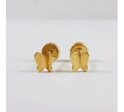 Boucles d'oreilles Enfants Puces Papillons Or Jaune
