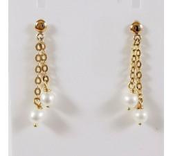 Boucles d'Oreilles Pendantes Perle Or Jaune