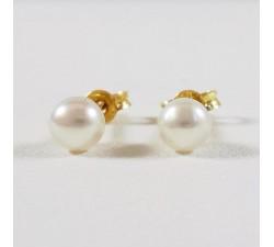 Boucles d'Oreilles Puces Perles Or Jaune