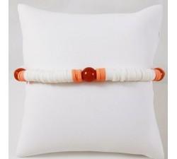 Bracelet Surfeur Perles de Heishi blanc et orange