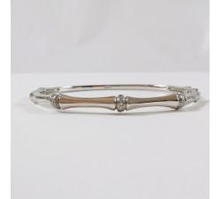Bracelet Jonc + Diamants Or Blanc 750 (18 carats)