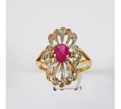 Bague Rubis et Diamants Or Jaune 750 - 18 carats (Bijou d'Occasion)