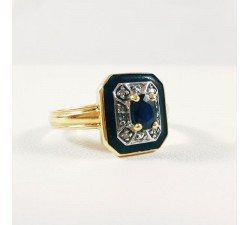 Bague Email Saphir Diamants Or Jaune 750 - 18 carats (Bijou d'Occasion)