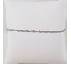 Bracelet Maille Singapour Or Blanc