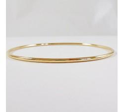 Bracelet Jonc Massif Fil Rond Or Jaune 750. Or jaune 18 carats