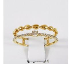 Alliance Diamants Double Anneau Or jaune 750 - 18 carats