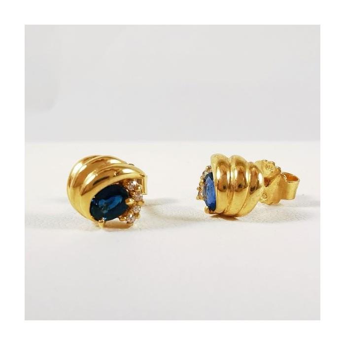 Boucles d'Oreilles Saphir Diamants Or Jaune (Bijou Occasion)