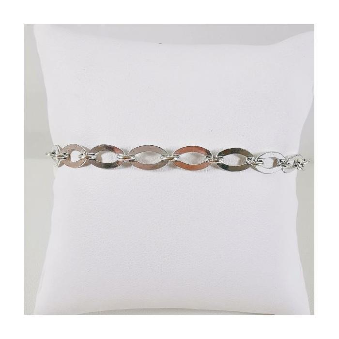 Bracelet Maille Allongée Argent
