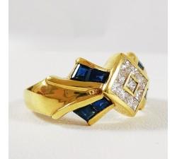Bague Saphirs et Diamants Or Jaune