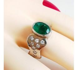 Bague Émeraude & Diamants Or Blanc Pièce unique