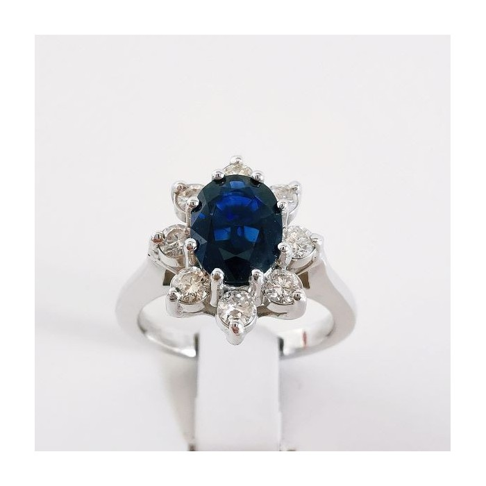 Bague Saphir entourage Diamants Or Blanc