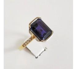 Bague Iolite et Diamants Bicolore