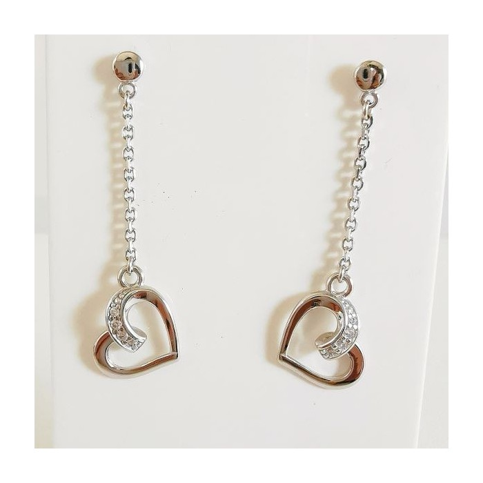 Boucles d'Oreilles Pendantes Coeur Argent
