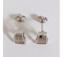 Boucles d'Oreilles Oxydes de Zirconium Or Blanc