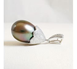Pendentif Perle de Tahiti et Diamants Or Blanc