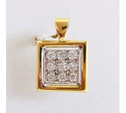 Pendentif Carré Pavé de Diamants Bicolore