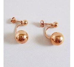 Boucles d'Oreilles Double Boule Plaqué Or Rose