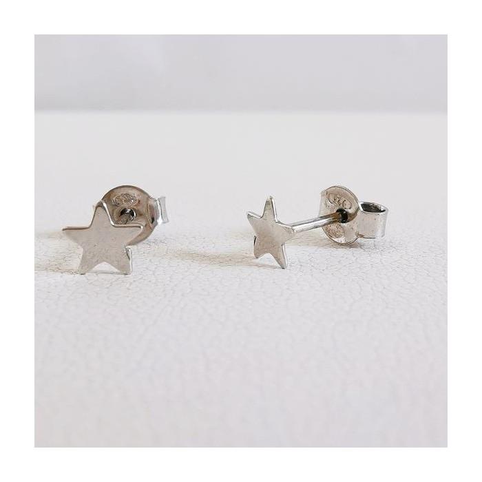 Boucles d'Oreilles Puces Etoile Argent