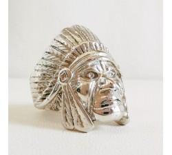 Bague Chevalière Tête d'Indien Argent
