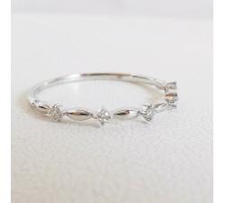 Demi Alliance Originale Diamants Or Blanc