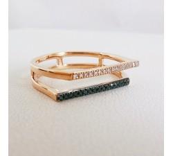 Bague Diamants Blancs et Diamants Noirs Or Rose 750 - 18 carats