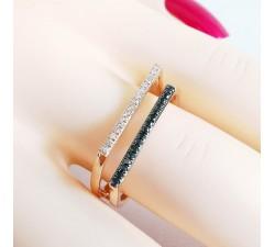 Bague Diamants Blancs et Diamants Noirs Or Rose