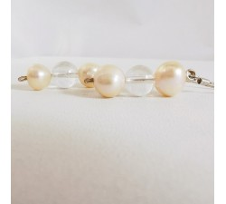 Boucles d'Oreilles Cristal de Roche et Perle d'eau douce Argent