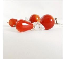 Boucles d'Oreilles Cornaline et Cristal de Roche Argent