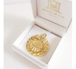 Médaillon Ø 3 cm Les Mystérieuses Cités d'Or Argent Plaqué Or