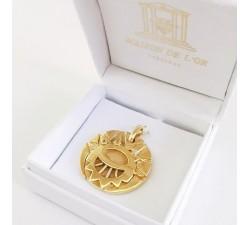 Médaillon Ø 2.5 cm Les Mystérieuses Cités d'Or Argent Plaqué Or