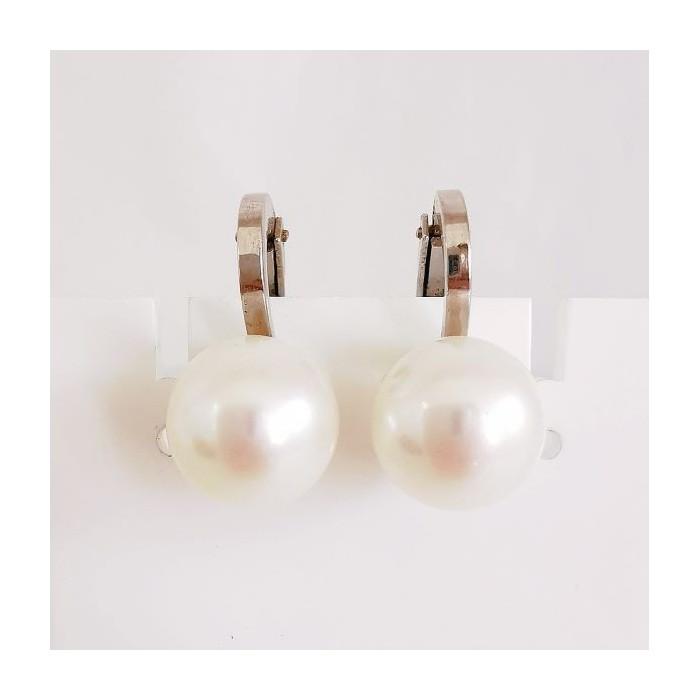 Boucles d'Oreilles Pinces Perles Or Blanc