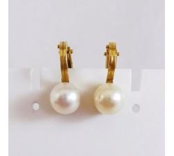 Boucles d'Oreilles Pinces Perles Or Jaune