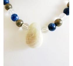 Sautoir Sodalite, Pyrite de fer, Cristal de roche et Pierre de lune