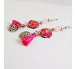 Boucles d'Oreilles Pompons rose/orange