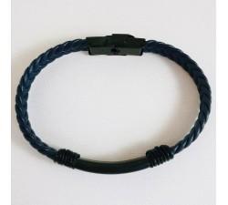 Bracelet Homme Cuir et Acier Noir