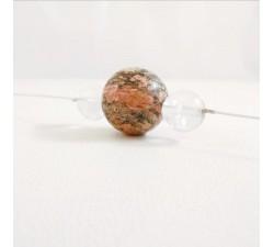 Collier Rhodocrosite et Cristal de Roche Argent