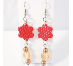Boucles d'Oreilles Fleur Corail/Marron