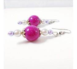 Boucles d'Oreilles rose/violet