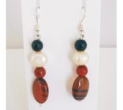 Boucles d'Oreilles Agate et Perle d'eau douce Argent