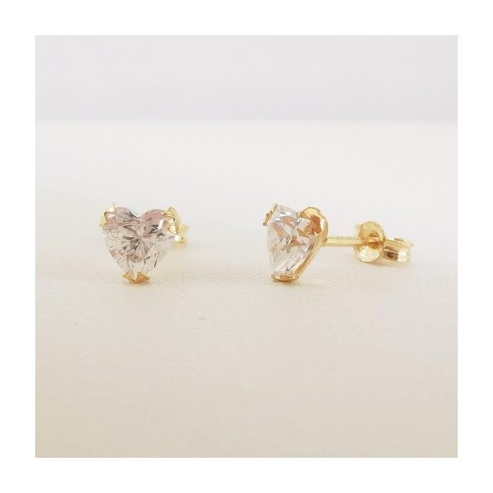 Boucles d'Oreilles Puces Cœurs Oxydes de Zirconium Or Jaune