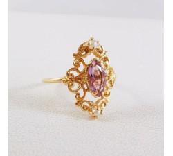 Bague Améthyste Or Jaune 750 - 18 carats (Bijou d'Occasion)