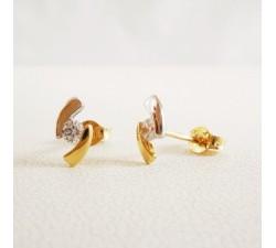 Boucles d'Oreilles Zirconium Or Jaune
