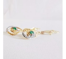 Boucles d'oreilles Dormeuses Émeraude Or Jaune 750 (18 carats)