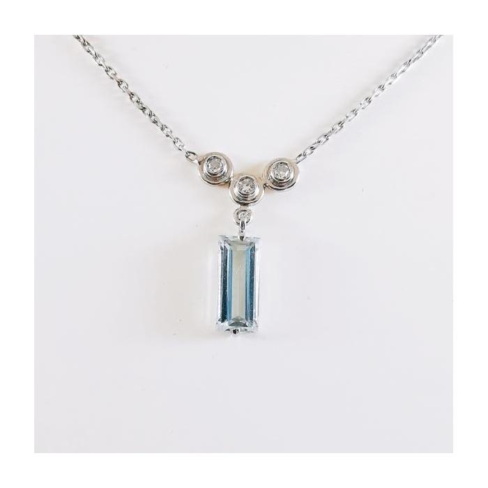 Collier Aigue Marine Diamants Or Blanc (Bijou Occasion)