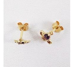 Boucles d'oreilles Améthyste et Grenat Or Jaune